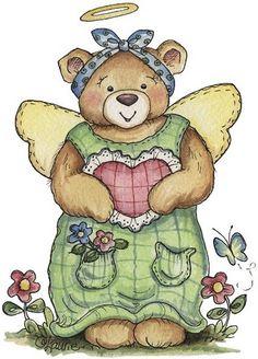 COUNTRY TEDDY BEAR ANGEL CLIP ART