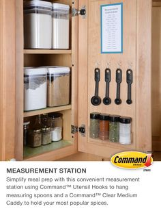By fridge spice rack DIY Measurement Station for Your Kitchen using Command™ Hooks. Another easy way to organize your kitchen. Kitchen Organization, Storage Organization, Organizing, Storage Ideas, Command Hooks, Command Strips, Portal, Pantry Design, Home