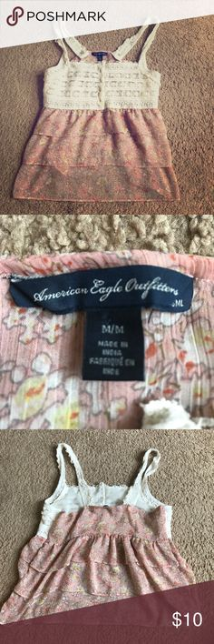 AEO pink layered chiffon lace camisole In great condition no stains or snags has only been worn a few times American Eagle Outfitters Tops Camisoles