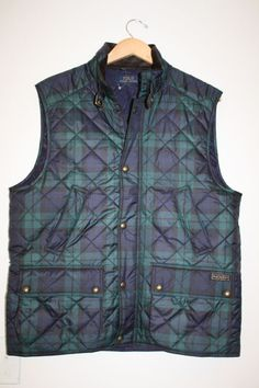 b1d09021e73  275 polo ralph lauren blackwatch tartan plaid quilted vest jacket hunting  large