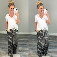These camo joggers are perfect for lounging or heading out and they have pockets and super cute and have rusted detailing at the bottoms. Simple Outfits, Summer Outfits, Casual Outfits, Casual Wear, Winter Outfits, Camo Fashion, Fashion Outfits, Camo Joggers, Camo Leggings