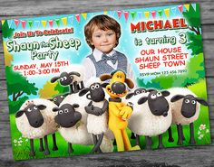 ♥ Welcome to PartyDesignPrint Workshop! ♥  This Shaun the Sheep Birthday Invitation is perfect for any little girls and boys! PRINTABLE DIGITAL