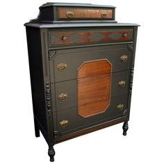 """Antique Jet Black & Walnut Harlequin Dresser -- from the seller: """"Antique 1910 walnut high boy dresser. Professionally finished in a luxurious combination of deep jet black with walnut, mahogany and bird's eye maple."""""""