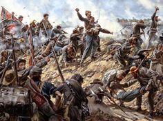 Diehards  Confederate soldiers throwing rocks at Second Manassas