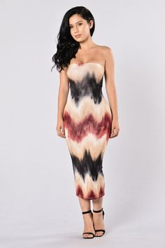 - Available in Stone Multi - Tube Dress - Zig Zag Detail - Tie Dye - Midi Length - Lined - Body Con Fit - Made in USA - 95% Rayon 5% Spandex