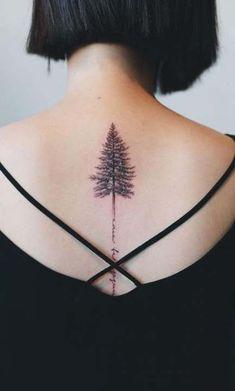 Tree Tattoo design & Model trend for pine tattoo by Gavor Zolyomi Tree Tattoo Back, Cool Back Tattoos, Small Tattoos, Awesome Tattoos, Evergreen Tree Tattoo, Pine Tree Tattoo, Kiefer Tattoo, Maine Tattoo, Prince Tattoos