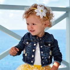Long sleeved Jacket with buttoned cuffs for baby girl. Snap button fastening on the front. Modern denim fabric with a washed effect and worn finish. Baby Girl Camo, Camo Baby Stuff, Carters Baby Boys, Baby Kids, Dark Denim Jacket, Baby Education, Baby Safety, Stylish Kids, Denim Fabric