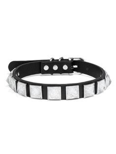 A classic black leather collar is edgy-glam with crystal pyramid studs. This collar is only available in size M/L.