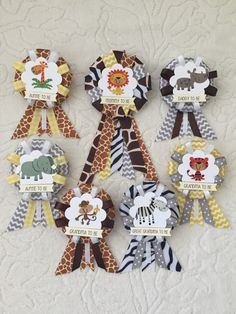 Family ribbon corsages for baby shower jungle animals gender neutral lion giraffe zebra monkey elephant tiger rhino - Color Name Baby - Ideas of Color Name Baby - Family ribbon corsages for baby shower jungle by KatrinaInvites Gender Neutral Baby Shower, Baby Shower Themes, Baby Shower Decorations, Baby Boy Shower, Shower Ideas, Color Names Baby, Juegos Baby Shower Niño, Bebe Shower, Safari Theme