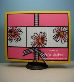 Stamp: Flower Shop. Paper: Daffodil Delight, Regal Rose, Early Espresso. Ink: Early Espresso, Regal Rose. Accessories: ribbon, Swiss dots embossing folder, enamel dots