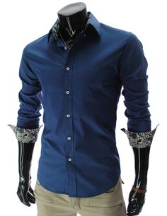 Casual Style Shirt Collar Floral Print Liner Long Sleeves Polyester Shirt For Men Plain Shirts, Cool Shirts, Men's Shirts, Dress Shirts, Stylish Mens Outfits, Cool Outfits, Collar Floral, Cheap Trendy Clothes, Liner
