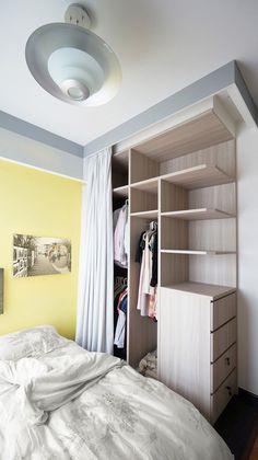 Căn hộ nhỏ độc đáo với việc chia không gian bằng rèm cửa