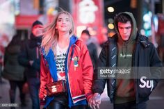 Chiara Ferragni and Fedez seen in the streets of Manhattan at the Times Square on February 16 2017 in New York City