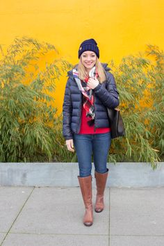 Winter layering with a cozy plaid blanket scarf, beanie, and puffer coat. Full post: https://avecamber.blogspot.com/2018/02/style-remix-plaid-blanket-scarf-knit.html