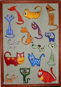 Картина панно рисунок Аппликация Лепка Такие разные кошки детские работы Крупа Тесто соленое