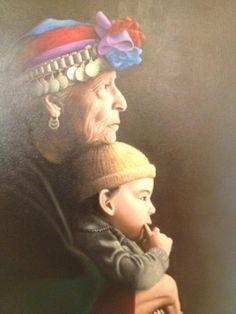 Mapuche lady in traditional headdress, Mapuche is Chile's main original inhabitants (prehispanic)
