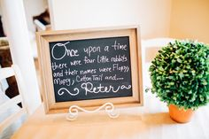 Chalkboard sign and topiary from a Beatrix Potter's Peter Rabbit Inspired Birthday Party on Kara's Paty Ideas | KarasPartyIdeas.com (17)
