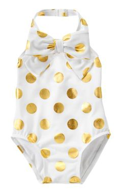 New Baby Girl Gifts:  Infant Gold Dot Swim One-Piece Bathing Suit @ Gymboree