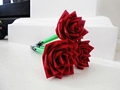 THIS IS SO COOL!  Handmade Red Duct Tape Rose Pens by EsockCreations on Etsy, $3.00