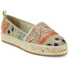 Alice + Olivia Bradley Sequin-Embroidered Espadrilles ($180) ❤ liked on Polyvore featuring shoes, sandals, espadrille shoes, pom pom shoes, embellished shoes, embroidered shoes and pom pom sandals