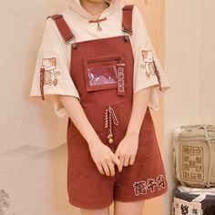 Mori Girl Embroidery Pocket Drawstring Bell Overall Shorts Harajuku Fashion, Kawaii Fashion, Lolita Fashion, Cute Fashion, Fashion Outfits, Harajuku Girls, Fashion Styles, Korean Street Fashion, Asian Fashion