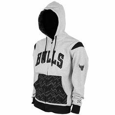 Chicago Bulls Mayweather Fleece Full Zip Hoodie - Gray/Black