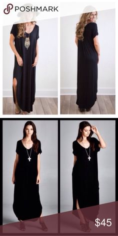 ❣️RESTOCK❣️ Black Oversized Tunic Maxi Dress Beautiful maxi with side sits and pockets. This dress runs a size or 2 BIG. So size DOWN! The L can fit an XL and also XXL so I gave it as an option. L will be sent if those are selected. Dresses Maxi