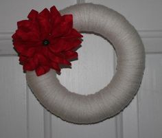 Christmas Poinsettia Yarn Wreath by TheCraftySugarsnip on Etsy, $25.00 Yarn Wreaths, Christmas Poinsettia, 4th Of July Wreath, Trending Outfits, Unique Jewelry, Handmade Gifts, Vintage, Etsy, Decor