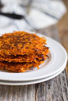 3-Ingredient, crispy sweet potato hash browns that are pan-fried in ghee then baked in the oven! A healthy addition to any breakfast- gluten free and paleo.