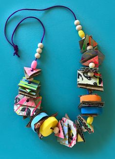 Fun recycled kids necklace craft project by Mini Mad Things crafts kids preschool JUNK NECKLACES Recycled Crafts Kids, Recycled Art Projects, Fun Crafts For Kids, Craft Activities For Kids, Preschool Crafts, Crafts To Make, Art For Kids, Craft Projects, Arts And Crafts