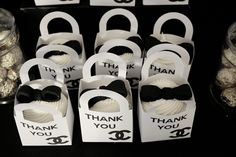 Favors at a Coco Chanel party #cocochanel #partyfavors