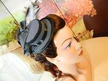 Mini Damenhut Sommerhut Streifen schwarz weiß Hut