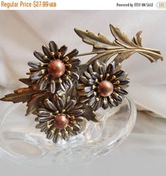 FALL SALE Vintage Large Mixed Metal Mums Brooch. Copper. by waalaa