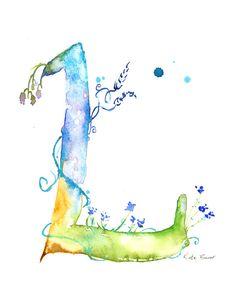 Letter L - Watercolor Monogram - Flower Lettering - Watercolor Letter Print - Watercolor Initial