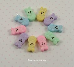 Bunny+Peeps+Polymer+Clay+Beads+by+TreasuresinClay+on+Etsy,+$20.00