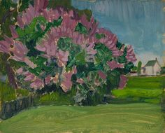 J.E.H. Macdonald - The Lilac Bush at the Artist's Home Thornhill House 8.5 x 10.5 Oil on board (1929) Tom Thomson, Lilac Bushes, Group Of Seven, Fine Art Auctions, Canadian Art, Art Of Living, Landscape, Artist, Oil