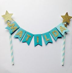 Blue gold glitter name cake topper - any name custom topper, twinkle twinkle little star 1st birthday, cake topper, birthday cupcake topper