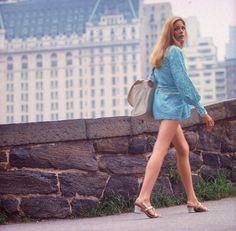 Sixties — Ewa Aulin wears a mini dress in Central Park....