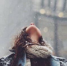 Feeling the snow. It's Winter