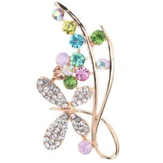 Amybria New Gold Plated Colorful Crystal Inlay Butterfly Flowers Brooch Pin Party Lady >>> You can get more details by clicking on the image.