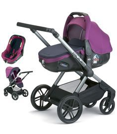Jane Muum Matrix Travel System - Violet Loving every aspect of this. Thinking Violet or Red for baby no.2   Has a very clever carseat that converts into lay flat carry cot so baby can sit up or sleep wherever in the world you are with this pram! Car seat even lays flat for car journeys and suitable for overnight stays with mattress. : )