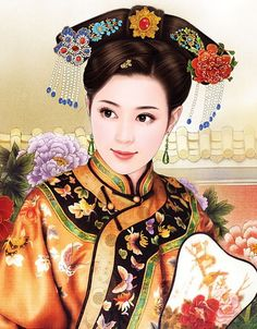Chinese girl ~~ For more:  - ✯ http://www.pinterest.com/PinFantasy/arte-~-la-mujer-en-el-arte-chino-women-in-chinese-/