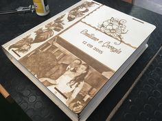 Laser engraving photo wedding book.