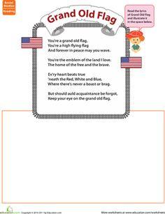 First Grade National Symbols Comprehension Music Worksheets: Grand Old Flag