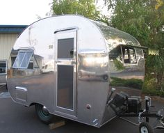 The exterior of a 1947 Robin Hood camper. http://www.greatamericancountry.com/shows/flippin-rvs/1947-refurbished-robin-hood-travel-trailer-pictures?soc=pinterest