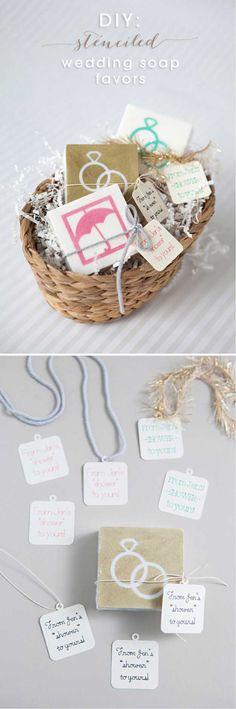 DIY Stenciled Wedding Soap Favors   24 DIY Wedding Favor Ideas