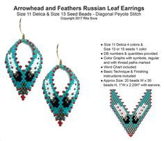Arrowhead and Feathers Russian Leaf Earrings | Bead-Patterns