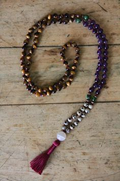 zen mala tiger eye amethyst dalmation jasper by StandingLaurel, 6mm beads.