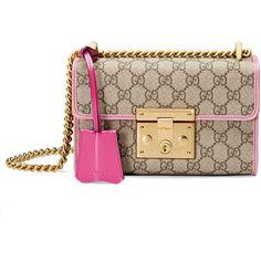 Gucci Padlock Small GG Supreme Shoulder Bag ($1,590) ❤ liked on Polyvore featuring bags, handbags, shoulder bags, brown purse, chain shoulder bag, gucci purses, brown handbags y chain strap handbag