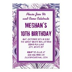 Purple Peacock Feathers Birthday Party Invitations